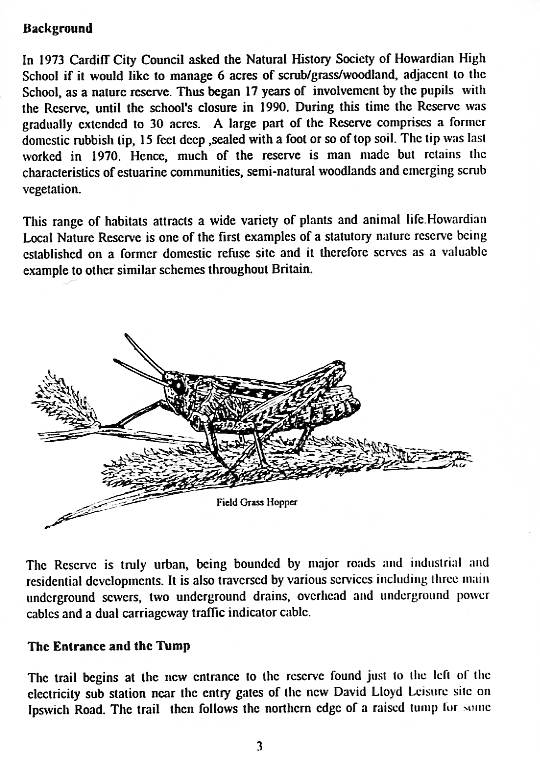 Howardian Local Nature Reserve   Nature Trail Booklet 1996 (English)   The Entrance and the Tump