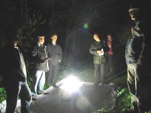 GMRG members and Friends of Howardian LNR gathered around a Skinner trap